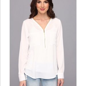 Calvin Klein zip V neck white top